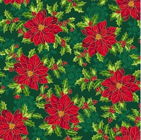 Pretty Poinsettias Large Flower Christmas Holiday Green Cotton Fabric