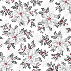 Pretty Poinsettias Large Flower Christmas Holiday White Cotton Fabric