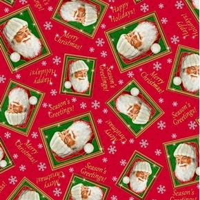Santas List Tossed Santa Frames Christmas Holiday Red Cotton Fabric