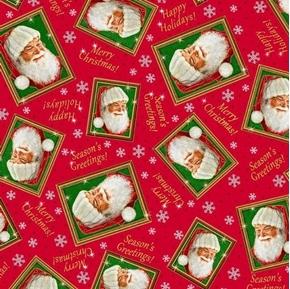 Santas List Tossed Santa Frames Christmas Holiday Red Cotton Fabric