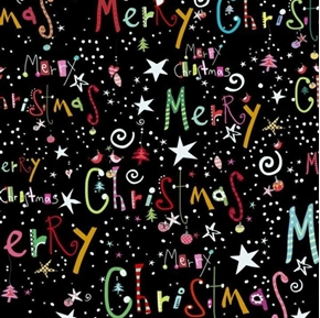Happy Christmas Merry Christmas Holiday Words Black Cotton Fabric