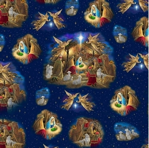 Holy Night Nativity Vignette Jesus Birth Christmas Blue Cotton Fabric