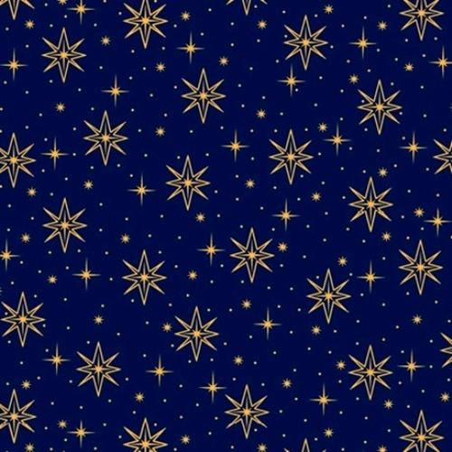 Holy Night Star Nativity Christmas Stars Deep Blue Cotton Fabric