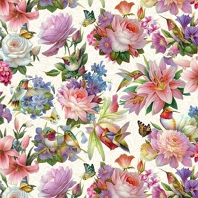Hummingbird Bouquet Hummingbirds and Flowers Sky Cream Cotton Fabric