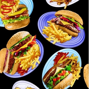 Hamburger and Fries Platter Cheeseburgers Burgers Black Cotton Fabric