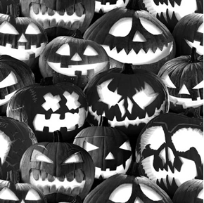 Ghoulish Gathering Stacked Pumpkins Glow in the Dark Cotton Fabric