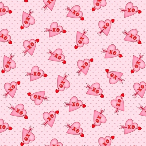 Love Struck Hearts XO Pink Hearts with Arrows Valentine Cotton Fabric