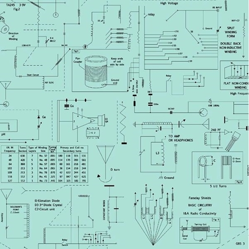 Frequency Circuitry Radio Wiring Electric Amps Aqua Cotton Fabric