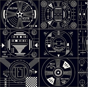 Frequency Test Patches Circuitry TV Electronics Black Cotton Fabric