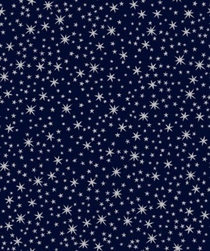 Holiday Metals Silver Metallic Stars on Navy Blue Cotton Fabric