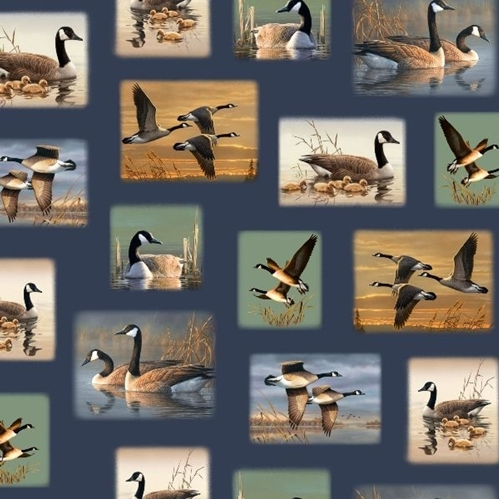 Flying Geese Canada Geese Vignettes Scenes Navy 24x22 Cotton Fabric