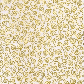 Picture of G-Clef Metallic Gold Clef Music Symbols Musical White Cotton Fabric