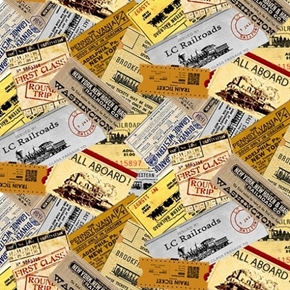Locomotion Train Tickets Railroads and Stations Cotton Fabric