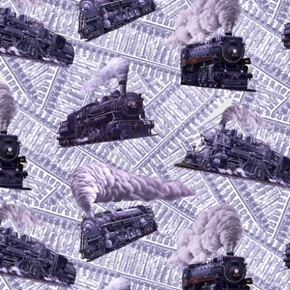 Locomotion Tossed Trains Railroad Tracks Steam Train Cotton Fabric