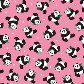 Little Explorers Panda Toss Tiny Pandas on Pink Cotton Fabric