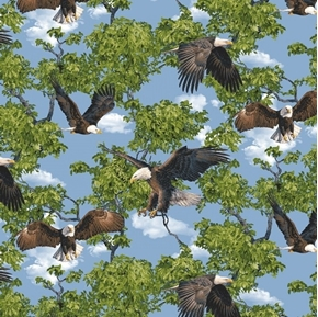 Born Free Bald Eagle Eagles in the Trees Cotton Fabric
