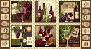 Vineyard Valley Wine Blocks Bottles Grapes 24x44 Cotton Fabric Panel