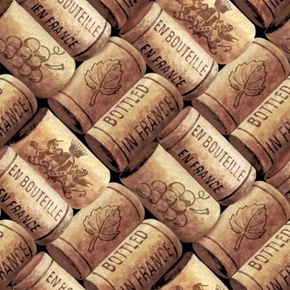 Vineyard Valley Corks French Wine Bottle Cork Cotton Fabric