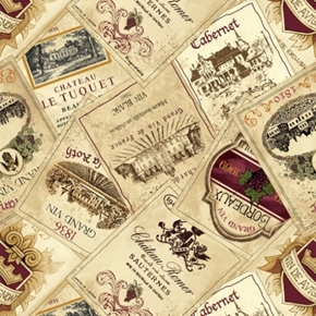Vineyard Valley Wine Labels Cabernet Bordeaux Grand Vin Cotton Fabric