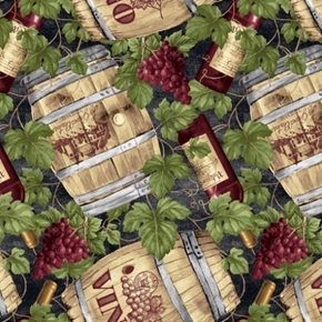 Picture of Vineyard Valley Wine Barrels Bottles and Vines Vino Cotton Fabric