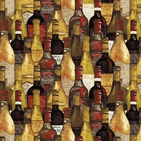 Picture of Wine Night Packed Bottles Vino Chateau Red White Wine Cotton Fabric