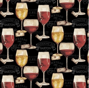 Picture of Wine Night Red and White Wine Glasses Corks and Labels Cotton Fabric