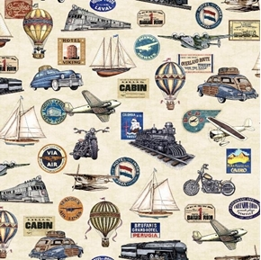 Wanderlust Trains Planes Automobile Vintage Travel Cream Cotton Fabric