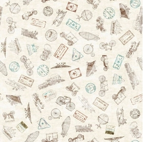Picture of Wanderlust Passport Stamps Travel Vintage Tourist Cream Cotton Fabric