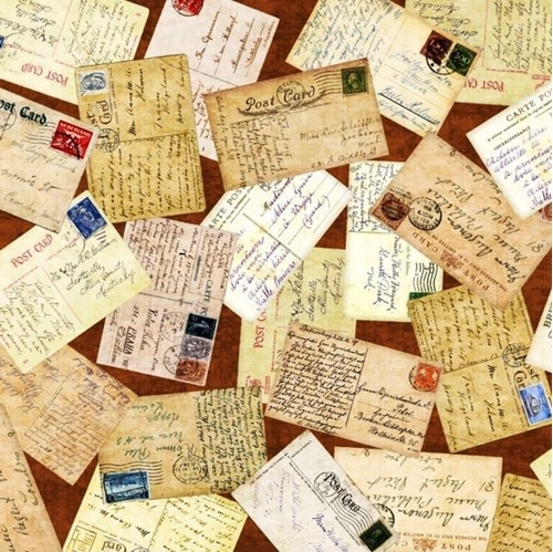 Wanderlust Postcards Vintage World Travel Postcard Brown Cotton Fabric
