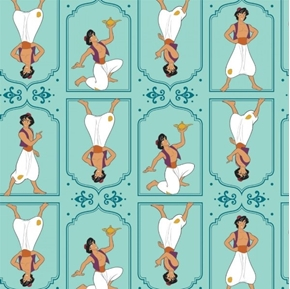 Disney Aladdin Movie Aladdin Frames Light Teal Cotton Fabric