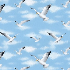 Wade & Sea Sea Gulls Beach Birds in the Sky Seashore Cotton Fabric