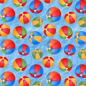 Wade & Sea Beach Ball Colorful Balls on Blue Cotton Fabric