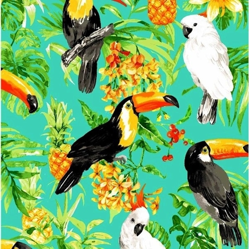 Picture of Isle Tropical Birds and Flowers Toucan Cockatiel Aqua Cotton Fabric