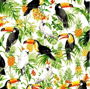 Isle Tropical Birds and Flowers Toucan Cockatiel White Cotton Fabric