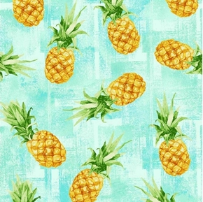 Isle Tossed Pineapples Tropical Pineapple Aqua Cotton Fabric