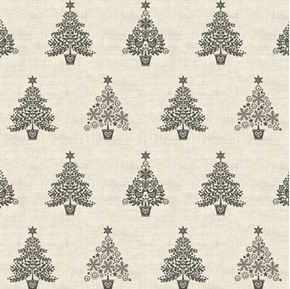 Scandi 2018 Trees Black Christmas Trees on Ivory Holiday Cotton Fabric