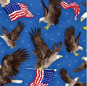 Flags and Eagles Patriotic American Flag Eagle Star Blue Cotton Fabric
