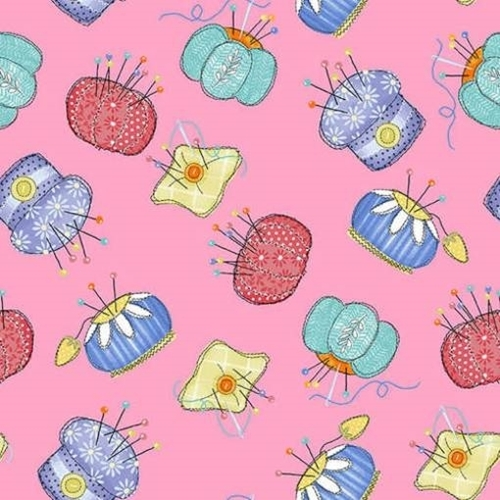 Handmade With Love Pin Cushion Sewing Notion Pink Cotton Fabric