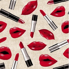Paris Lips and Lipstick Very Red Lips Make-up Cosmetics Cotton Fabric