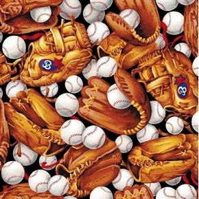 Sporting Tossed Baseballs and Gloves Mitts Balls Cotton Fabric