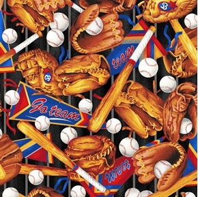 Sporting Tossed Baseballs Bats Gloves and Pennants Cotton Fabric