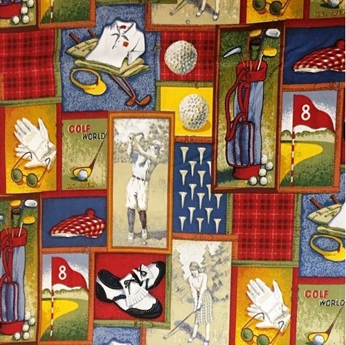 Art of Golf Patches Vintage Golfers Bag Tees Shoes Balls Cotton Fabric