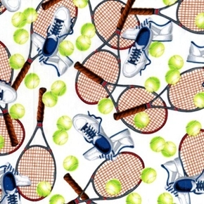 Match Point Tennis Equipment Raquets Shoes and Balls Cotton Fabric