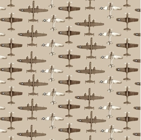 Air Show Boeing Fighter Jets Military Plane Rows Sepia Cotton Fabric