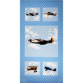 Air Show Boeing Planes Vintage Military Aircraft 24x44 Fabric Panel