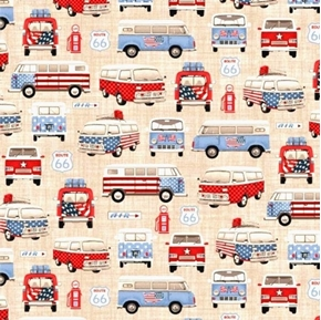 All-American Road Trip Vintage VW Camper Bus Patriotic Cotton Fabric