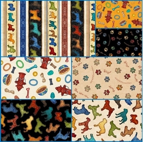 Must Love Dogs 7 Fat Quarter Cotton Fabric Collection