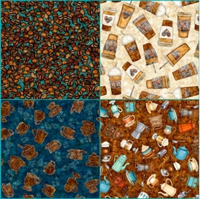 Café All Day Coffee 4 Fat Quarter Cotton Fabric Collection