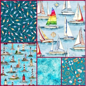 Picture of Smooth Sailing Nautical 5 Fat Quarter Cotton Fabric Collection