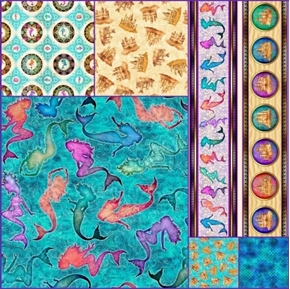 Sea Serenade Mermaid 6 Fat Quarter Cotton Fabric Collection
